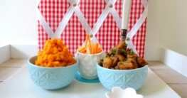 Vegane Rahm-Pilze an zartem Süßkartoffel-Stampf